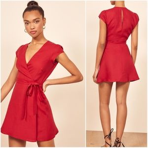 NWT Reformation Linen Rodin Red Dress